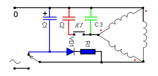 Elektrische Schaltung des Elektromotors mit Kondensator Start 220V