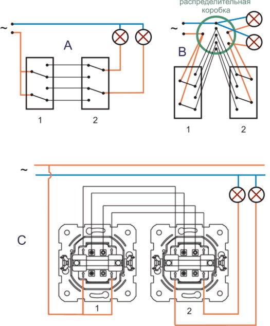 Схема без распределительной коробки 85